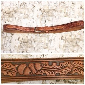 """Leather Hand Tooled Brown Artisan Belt 34"""""""